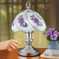 Purple Floral Touch Lamp with Silver-Tone Base - 47049
