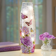 Butterfly with Floral Hurricane Table Lamp - 47051