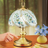 Watercolor Blue Butterfly Blossoms Touch Lamp - 47054