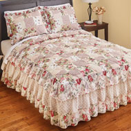 Rose Garden Quilt-Style Ruffled Bedspread - 47055