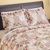 Rose Garden Quilt-Style Ruffled Pillow Sham - 47059
