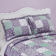 Classique Lavender Ruffled Patchwork Pillow Sham