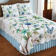 Blue Butterfly Blossom Scalloped Quilt - 47061