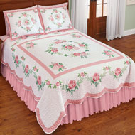 Pink Rose Garland Quilt with Scalloped Edges - 47063
