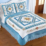 Rose Floral Blue Scalloped Border Patchwork Quilt - 47064