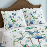 Blue Butterfly Blossom Scalloped Pillow Sham - 47066