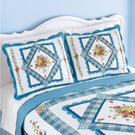 Rose Floral Blue Scalloped Border Patch Pillow Sham - 47069