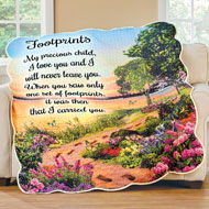 Footprints Lakeside Sunset Scene Scalloped Throw