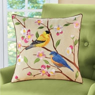 Bird Floral Decorative Pillow Cover - 47115