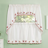 Embroidered Roosters Window Curtains - 47137