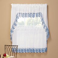 Lillian Floral Lace Trim Window Curtains - 47138