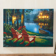 Lighted Lakeside Rustic Cabin LED Canvas Wall Art - 47159