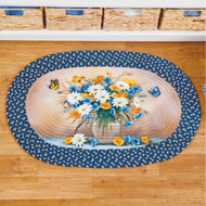 Daisy Bouquet and Butterfly Braided Rug - 47188