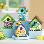 Hand-Painted Birdhouse Sitters - Set of 4 - 47190