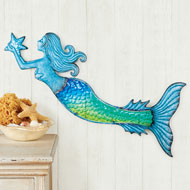 Glass Accented Mermaid Wall Decoration - 47196