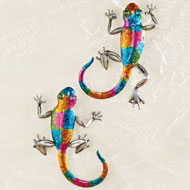 Colorful Lizards 3D Metal Wall Art - Set of 2