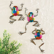 Colorful Hand-Painted 3D Wall Frogs - Set of 3