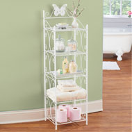 White 5 Tier Storage Shelf with Scrolling Design - 47208