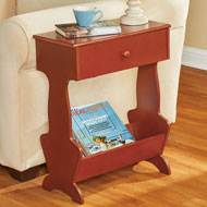 Wooden Magazine End Table with Drawer - 47209