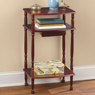 Wooden Accent Table with Three Shelves and Drawer - 47210