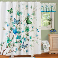 Blue Butterfly Blossoms Shower Curtain - 47213
