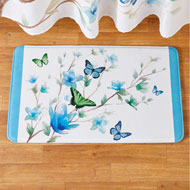 Blue Butterfly Blossoms Skid-Resistant Bath Mat - 47214