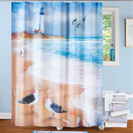 Seaside Escape Coastal Scene Shower Curtain - 47216