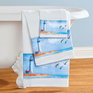Seaside Escape Coastal Scene Towels - Set of 3 - 47217