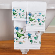 Blue Butterfly Blossoms Towels - Set of 3 - 47219