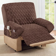 Diamond Quilted Stretch Recliner Cover with Storage - 47220