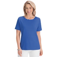 Scalloped Trim Scooped Neckline T-Shirt - 47234