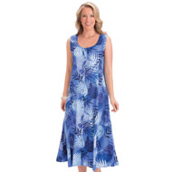 Button Front Palm Leaf Print Easy-Fit Tank Dress - 47236