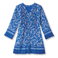 Blue Floral Crochet Trimmed Pintuck Tunic - 47239