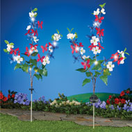 Solar Patriotic Floral Adjustable Yard Stakes - 47243