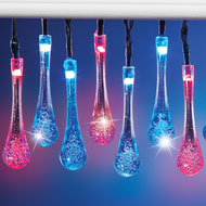 Solar Patriotic Raindrop String Lights - 47245