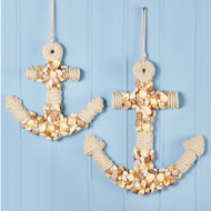 Rope-Covered Seashell Anchor Wall Decor - 47248