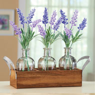 Lavender Arrangements in Wooden Bottle Crate - 47254