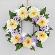Lighted LED White Peony Wreath - 47255