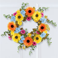 Colorful Lush Daisy Wreath with Greenery - 47257