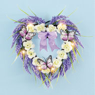 Lighted Heart-Shaped Lavender Wreath with Bow - 47258