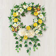 Lighted Yellow Rose Hanging Wreath - 47261