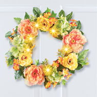 Lighted LED Yellow Rose and Peony Wreath - 47263