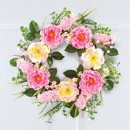 Lush Pink Rose and Berry Wreath - 47265