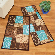 Patchwork Scroll Rug with Skid-Resistant Backing - 47288