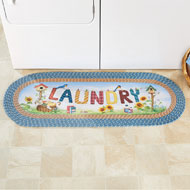Outdoor Scene Laundry Day Braided Runner Rug - 47289
