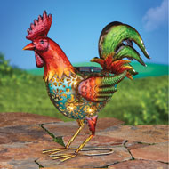 Solar Colorful Rooster with Cutout Design - 47291