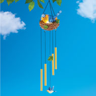 Solar Bluebird Windchime with Chain and Hook - 47298