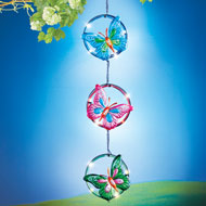 Solar Triple Ring Colorful Butterfly Dangler - 47299