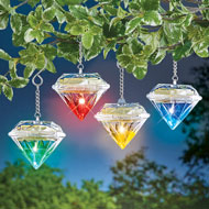 Solar Colorful Diamond Hanging Lights - Set of 4 - 47319