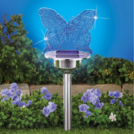 Solar Butterfly Light Stainless Steel Yard Stake - 47321